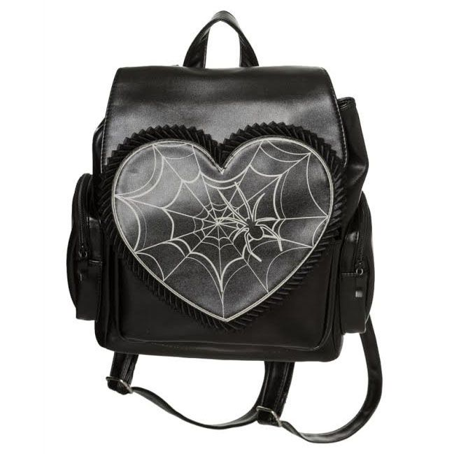 Heart Shape Glow in The Dark Spider Web Gothic Punk Backpack By Banned Apparel