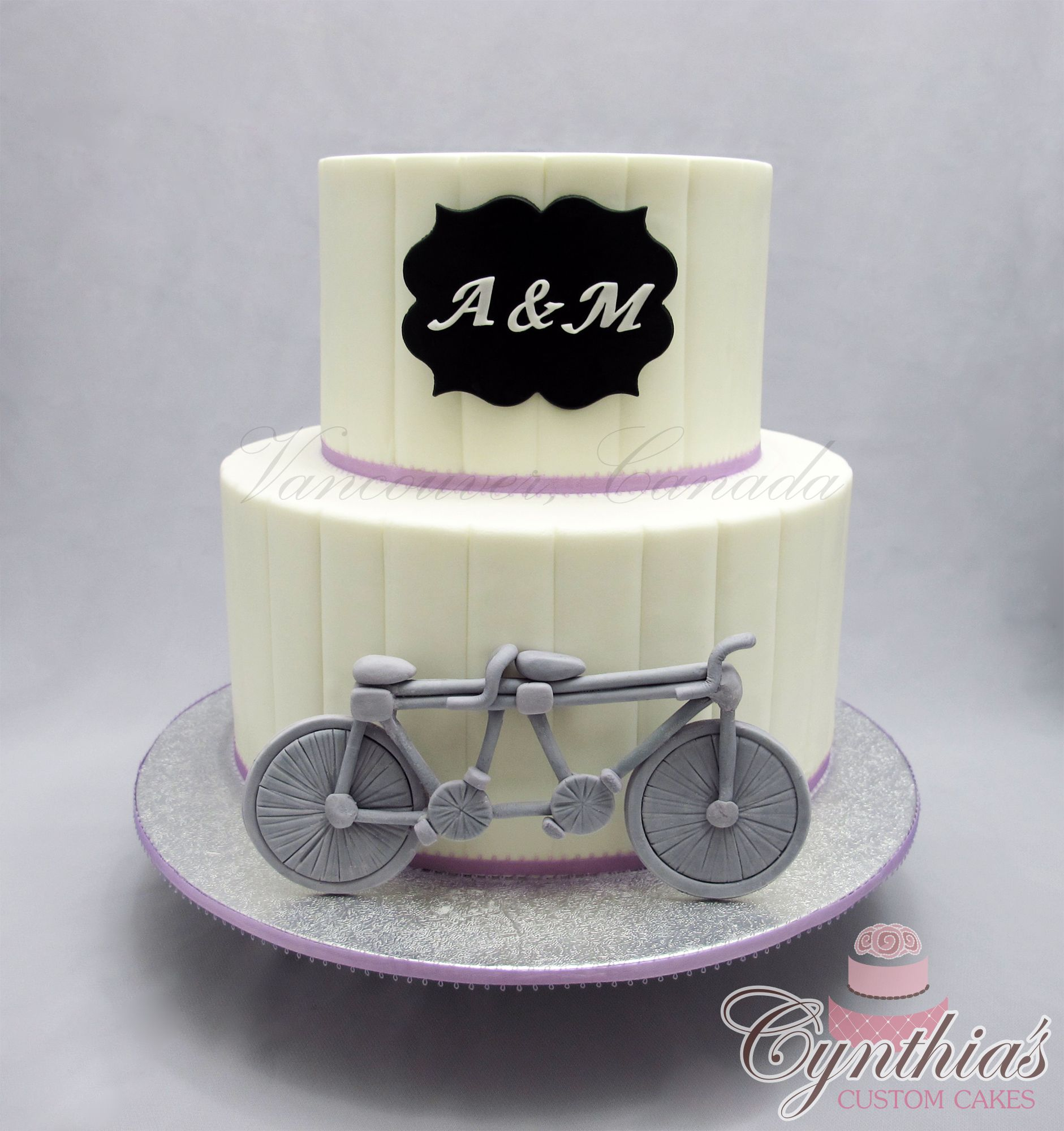 Bicycle themed Wedding Cake ... All fondant ... www.facebook.com ...