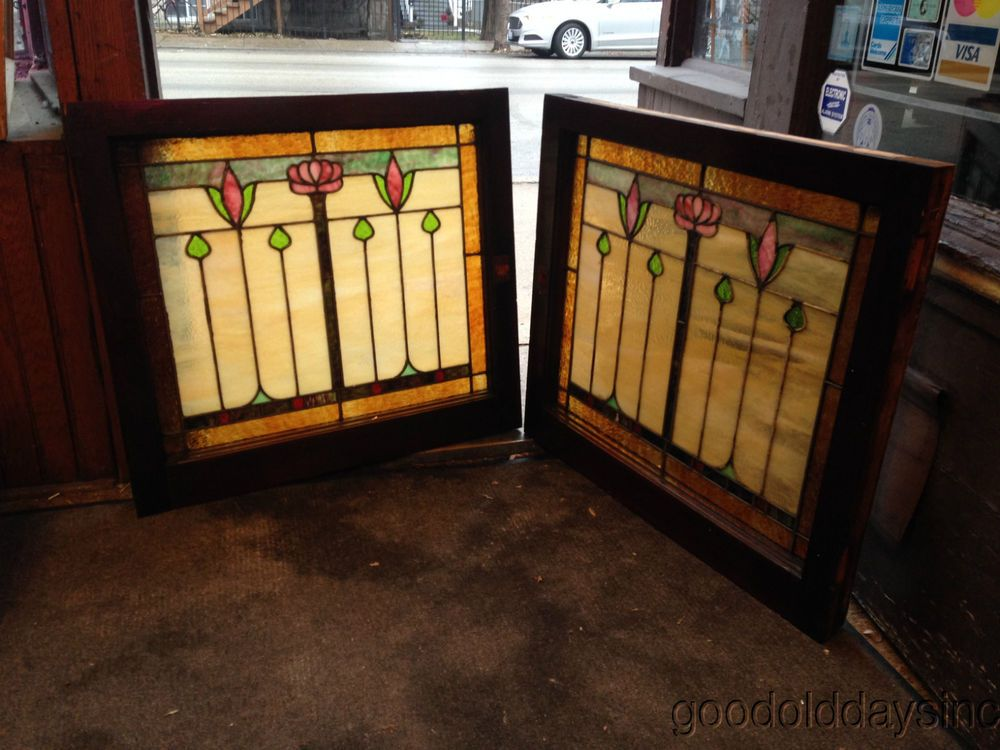 Arts And Crafts Stylized Rose Stained Glass Windows In The Style Of Designer Dard Hunter Stained Glass Panels Craftsman Interior Home Decor