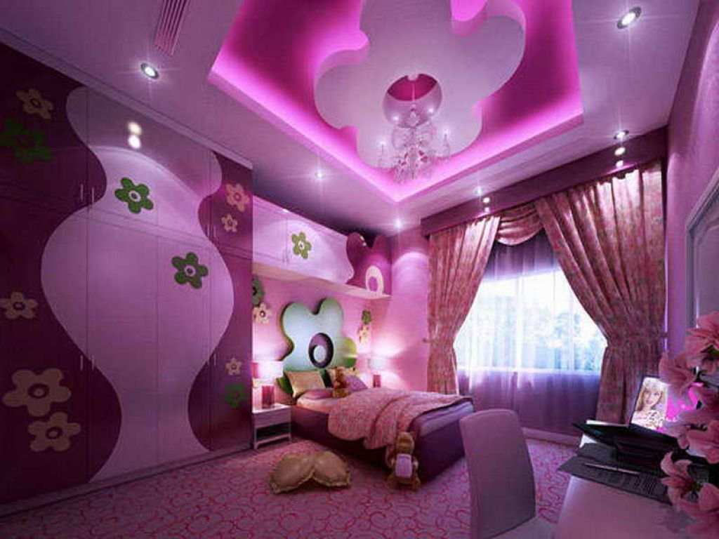 Bedroom , Girl Purple Bedroom Ideas : Purple Bedroom Ideas With Flower  Coved Ceiling And Flower