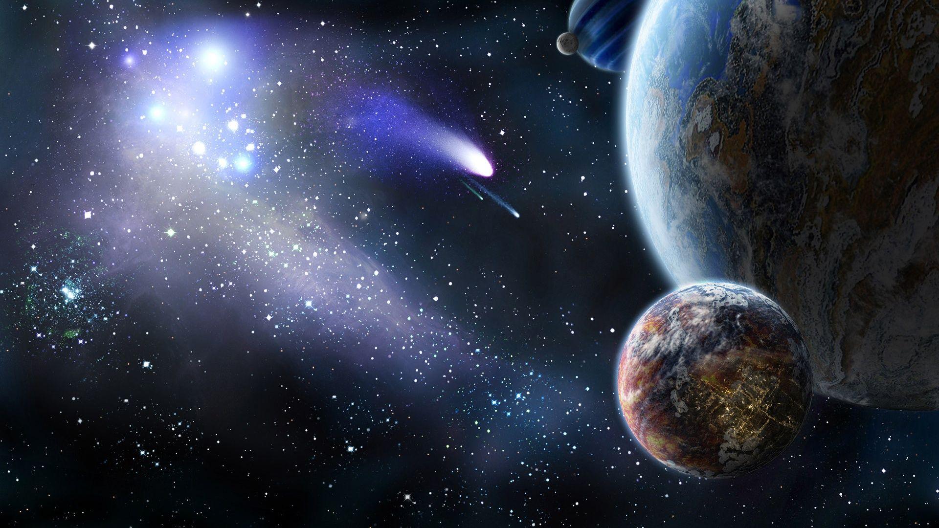 Planete Et La Comete Dans L Espace Fonds D Ecran 1920x1080 Fonds D Ecran De Telechargement Cosmos Tableau Star Wars Fond Ecran