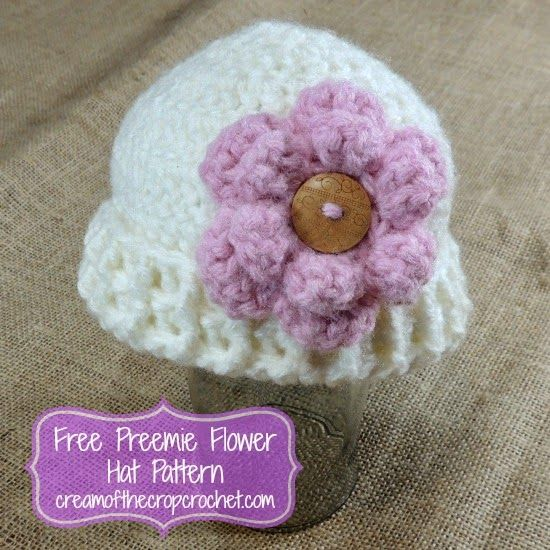 Cream Of The Crop Crochet ~ Preemie Flower Hat {Free Crochet Pattern ...