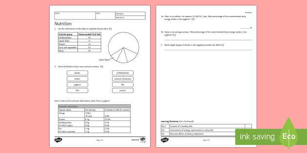 KS3 Nutrition Homework Activity Sheet - Homework, diet ...