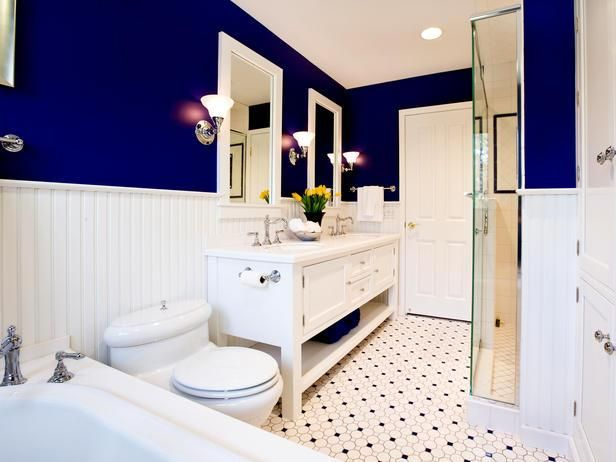 Kids bath Bathroom Ideas with Dark Blue and Dotted Tiles