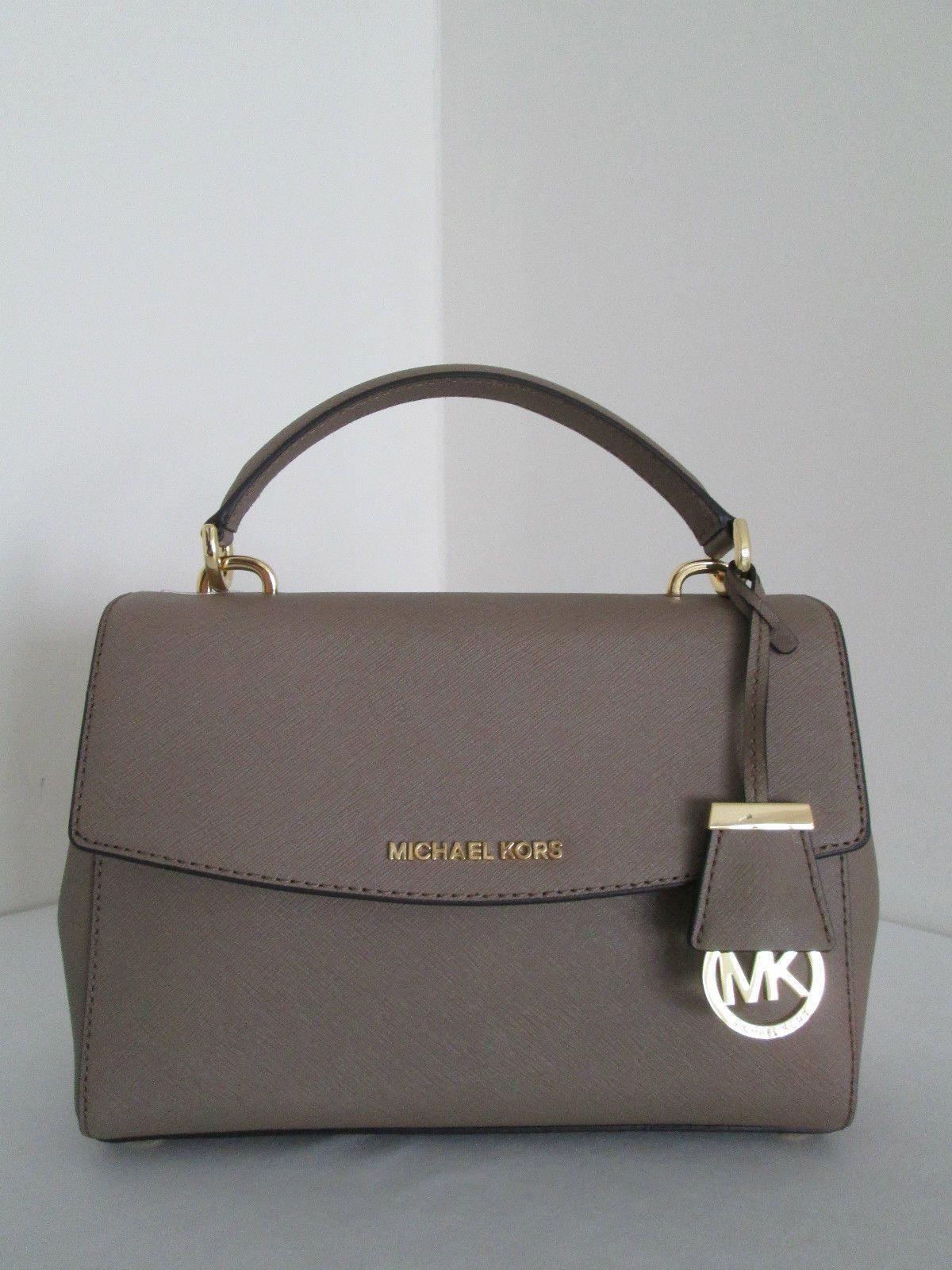 f268a16003ff Michael Kors AVA Dark Dune Small Satchel Saffiano Leather Handbag ...