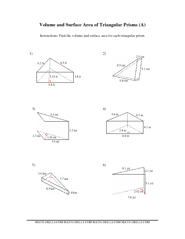 Volume and Surface Area of Triangular Prisms (A) (With