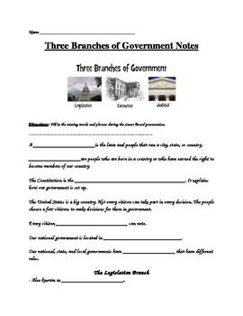 Three Branches Of Government  Guided Notes And Assessment