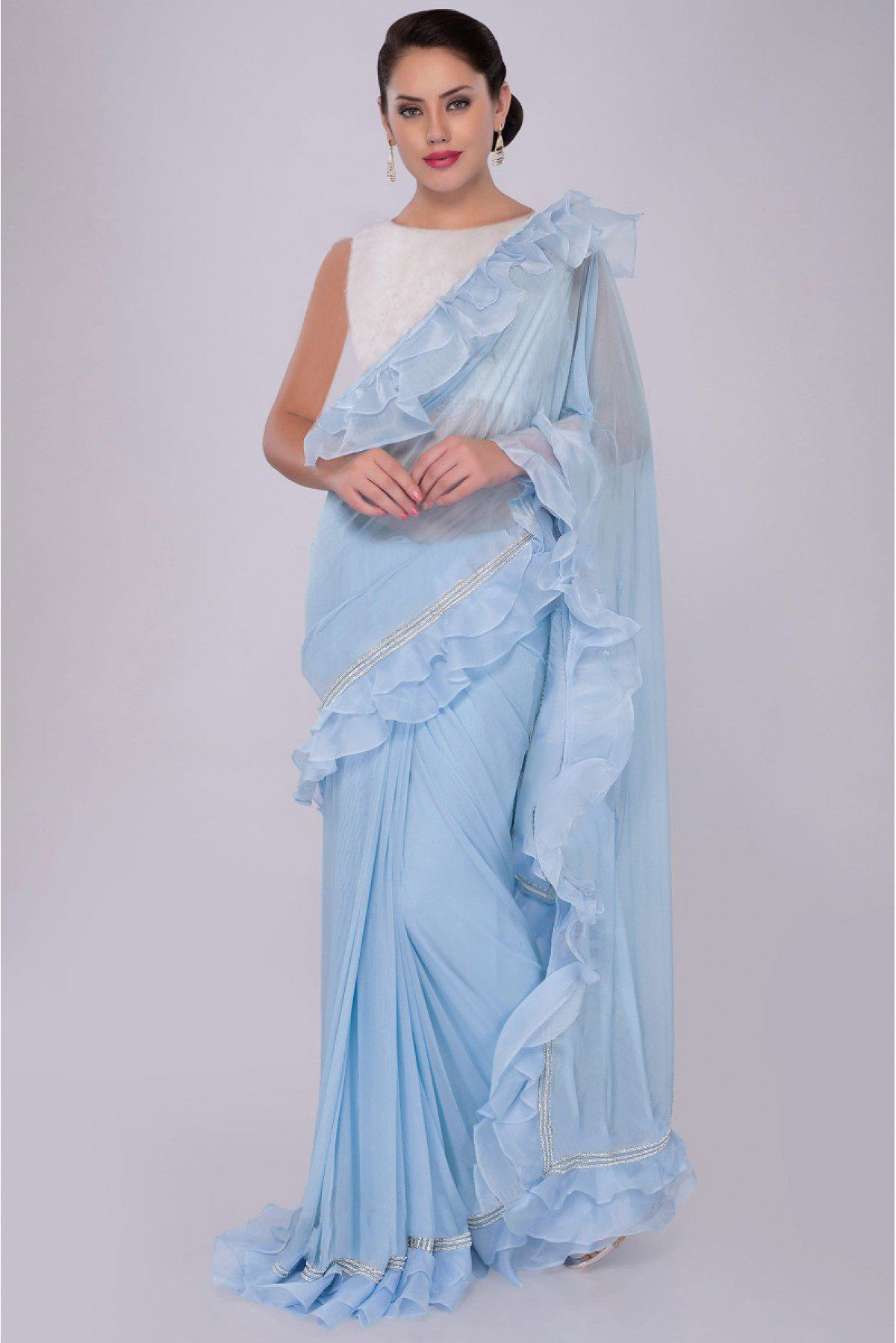 746cb2a869 The Stylish And Elegant Ruffle Saree In Sky Blue Colour Looks Stunning And  Gorgeous With Trendy And Fashionable Georgette Organza Fabric Looks  Extremely ...