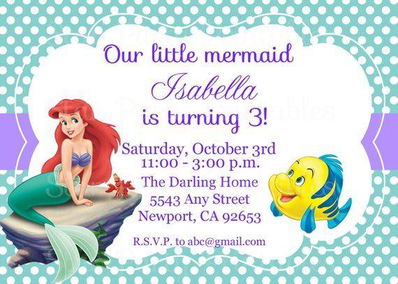 The Little Mermaid Invitation Ariel Disney Princess Kids Birthday Party Invite Invitat