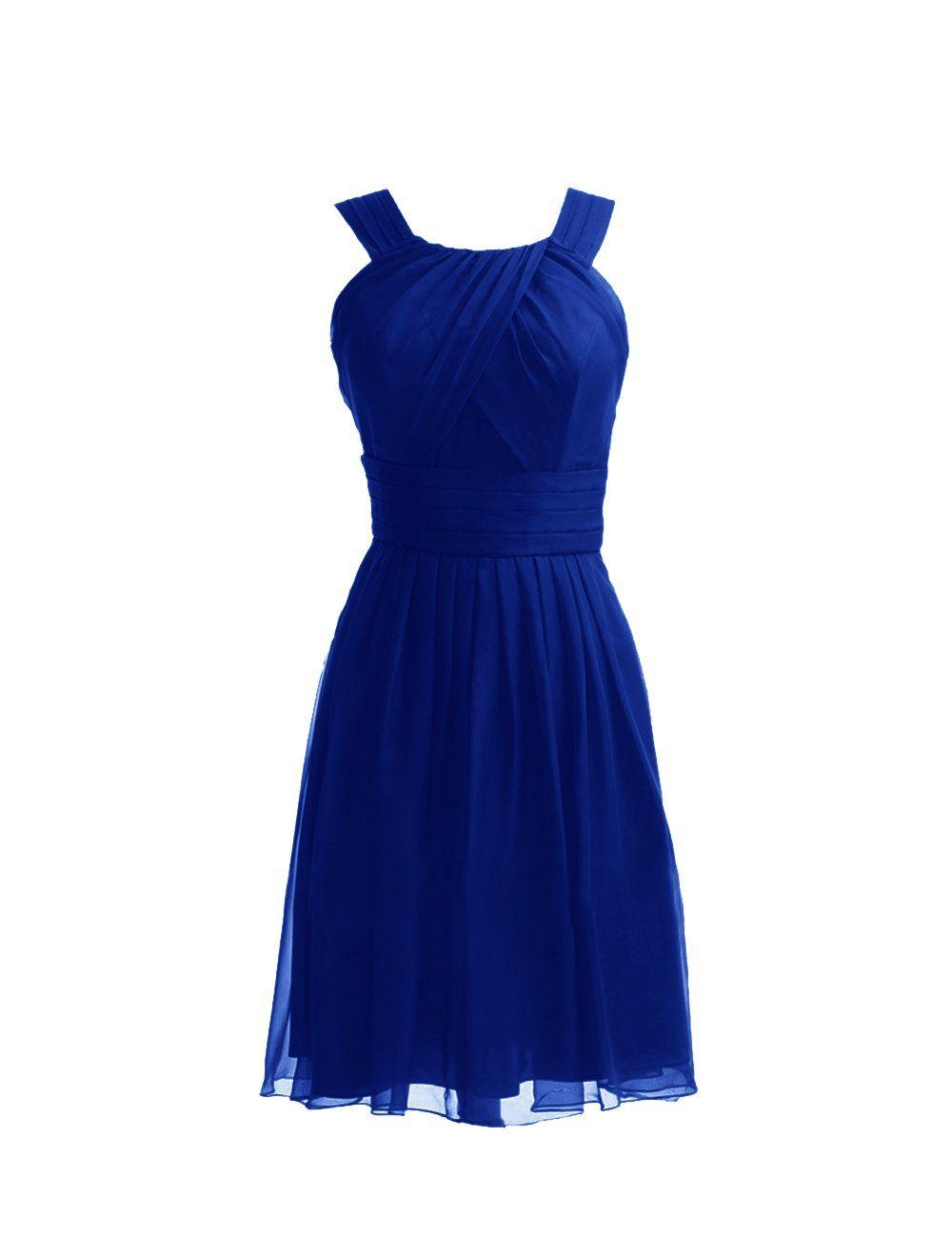 Diyouth Short Bateau Neckline Chiffon Bridesmaid Dresses at Amazon Women's Clothing store:
