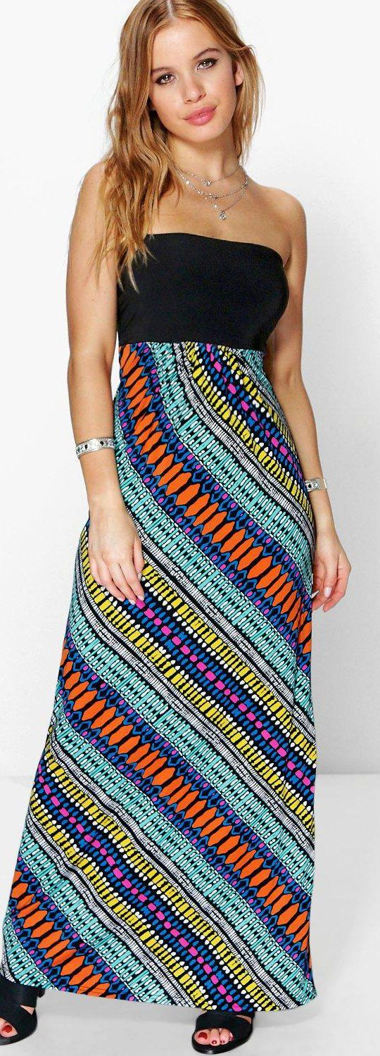 Petite Saffron Aztec Bandeau Maxi Dress - Dresses  - Street Style, Fashion Looks And Outfit Ideas For Spring And Summer 2017