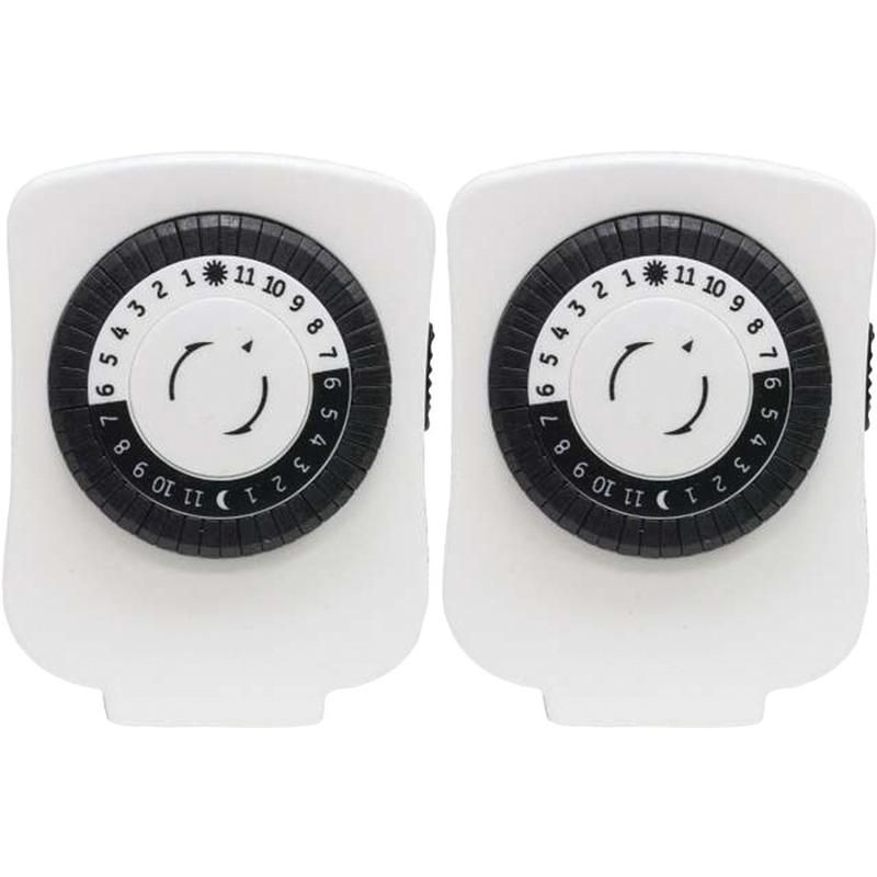 Ge 24 Hour Polarized Plug In Mechanical Timer With 48 On And Off 1 Outlet 2 Pk Timer Portable Fans Digital Timer