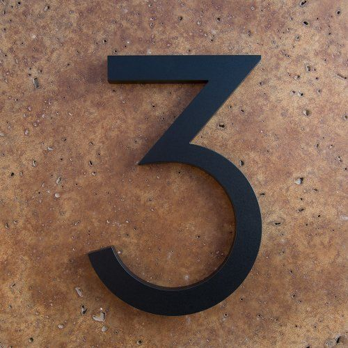 Modern house number black color aluminum modern font number three 3 6 inch by