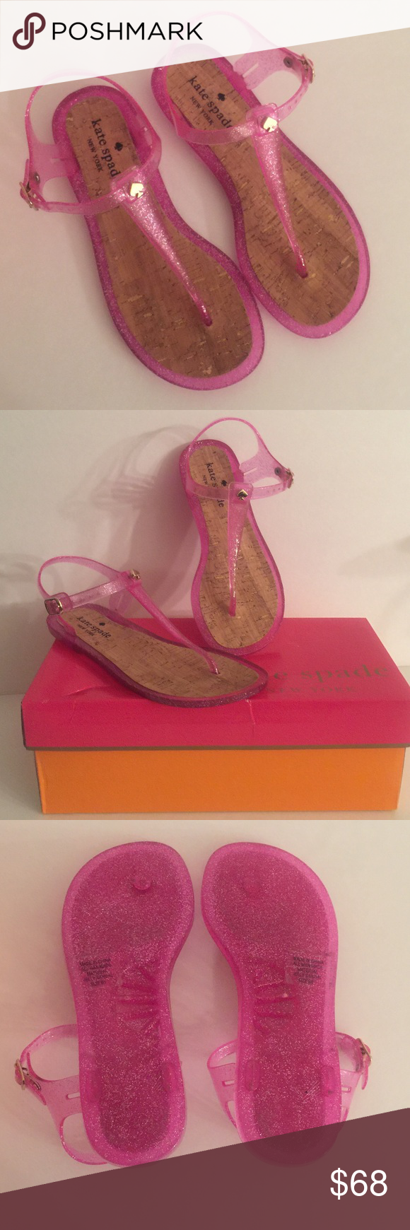 48b691a9c5c8 Kate Spade Pink  Yari  Jelly Glitter Sandals NEW Kate Spade Pink  Yari  T-  Strap Jelly Glitter Sandals Size 6. New with box as pictured. kate spade  Shoes ...