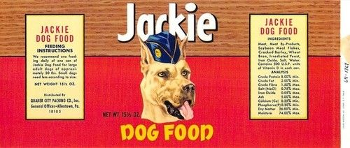 Jackie Brand Vintage Dog Food Can Label Great Dane Ebay