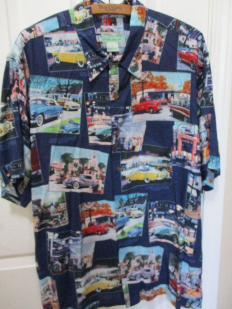 c2b09f594b6 Reyn Spooner Large FORD MOTOR Classic Cars Jaguars HAWAII Aloha Rayon Shirt  Vtg  ReynSpooner  Hawaiian