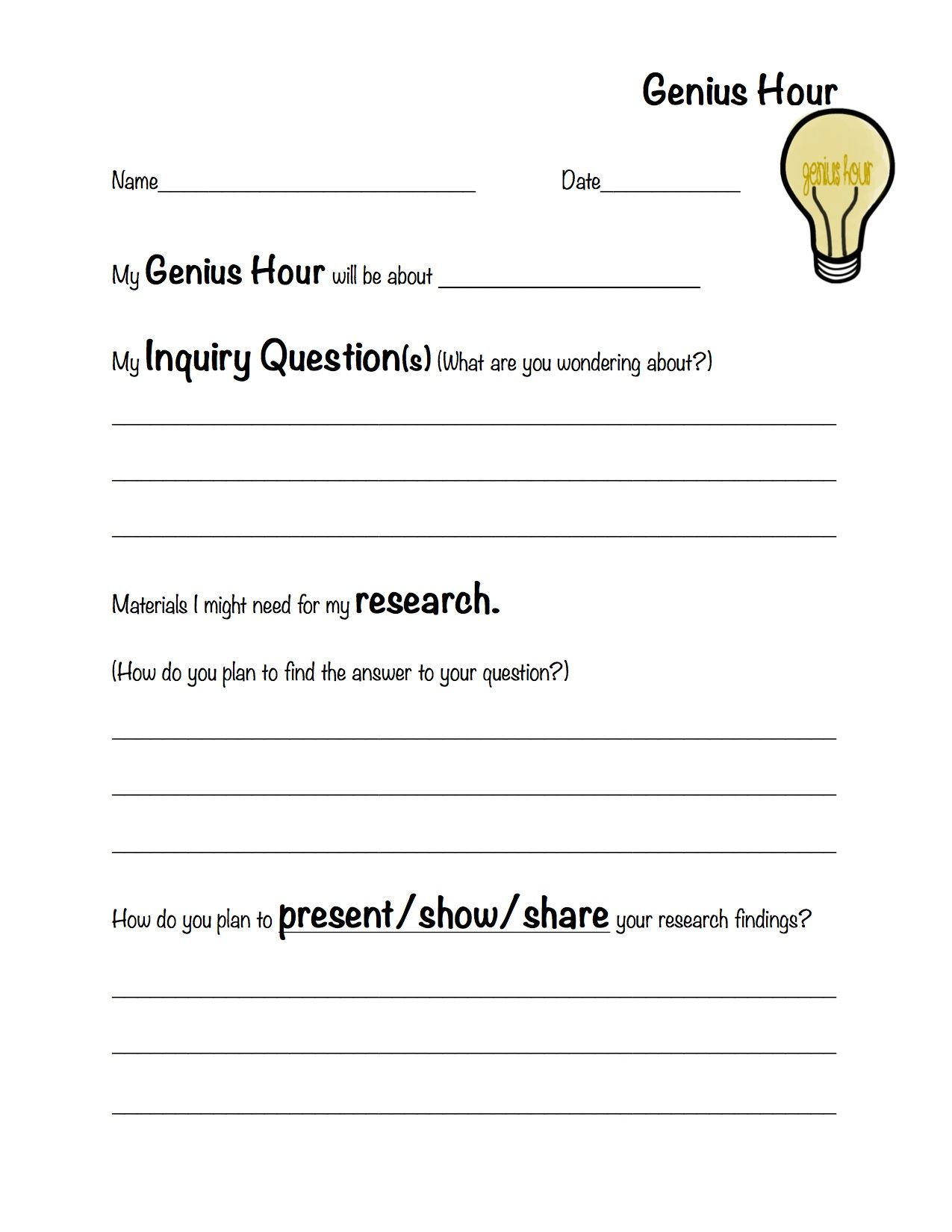 Genius Hour Plan Made This Up To Use In Class