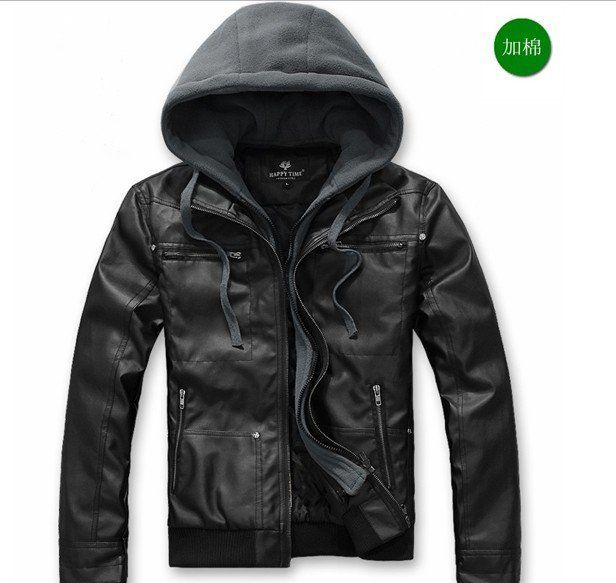 Mens Leather Jacket With Hoodie - Coat Nj