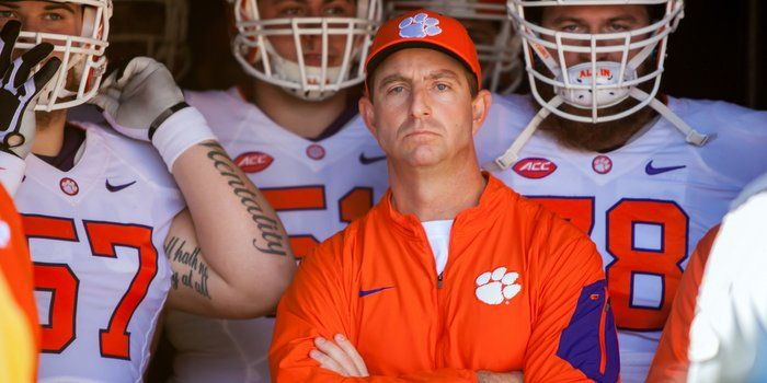 """He's all about bringing your own guts and being all in and dancing in the locker room, and it's hard to look anywhere on television or social media and not see his face. He's Dabo Swinney, he's everywhere, and he has to be Clemson's.......Man of the Year. <span style=""""font-size:.7em"""">Photo by Jeff Blake / USATODAY</span>"""