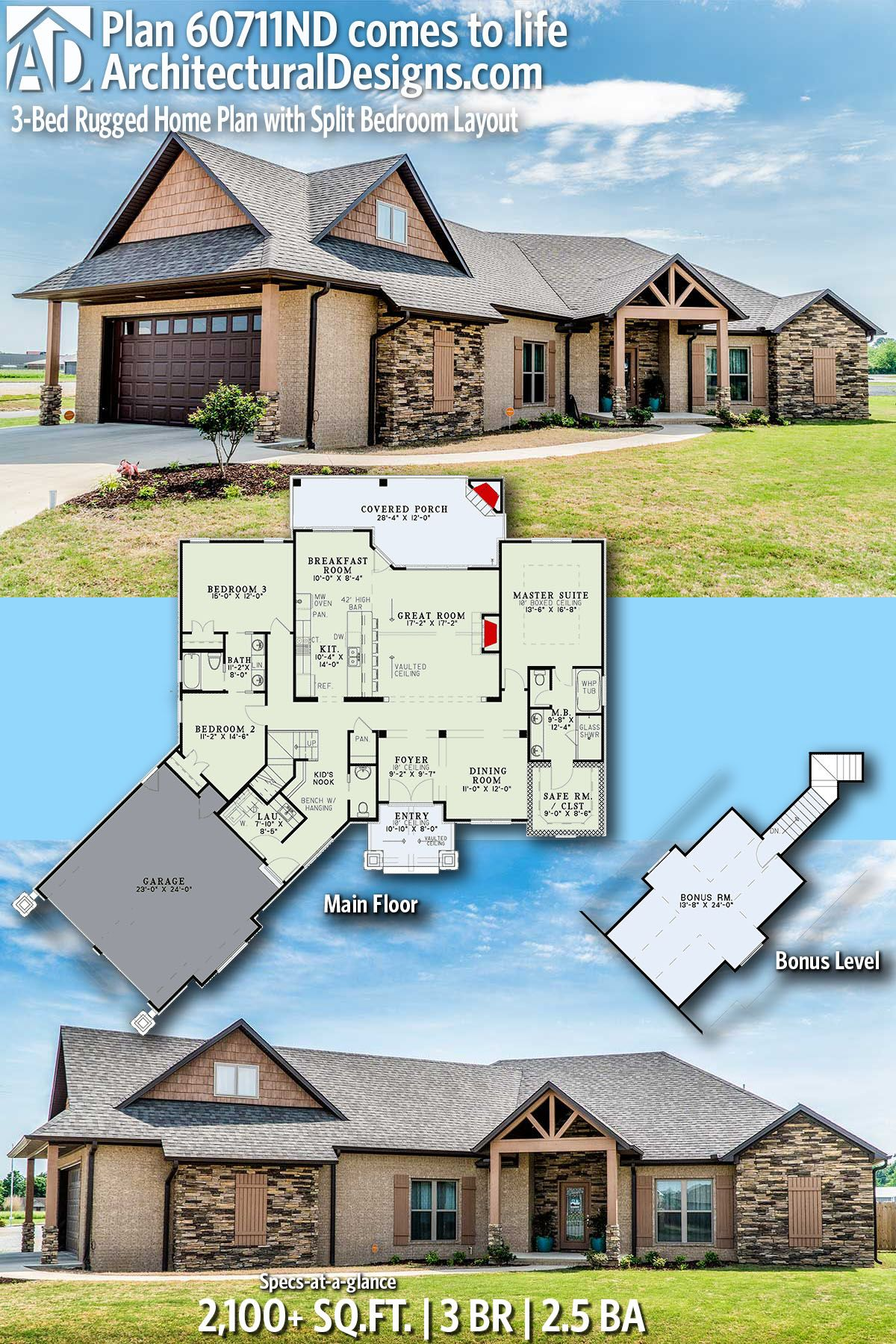 Plan 60711nd 3 Bed Rugged Home Plan With Split Bedroom Layout Architectural Design House Plans House Plans Lake House Plans
