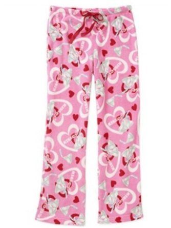 f309397bb7 Herseys Kiss Womens Plush Pink Kisses Sleep Pants Fleece Pajama Bottoms PJs  Hershey s.  23.99