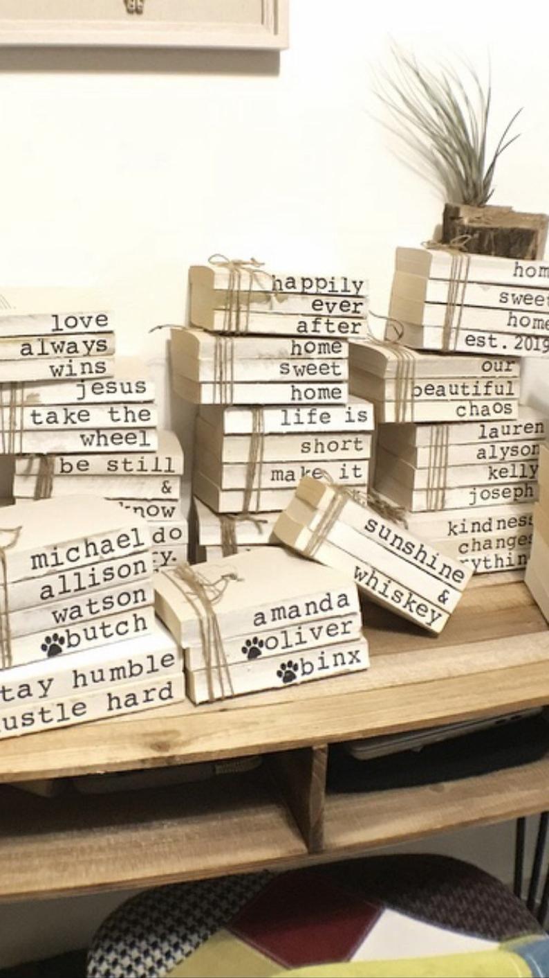 Farmhouse decor | Stamped Books | Custom signs | Shelf sitter | Housewarming Gifts | Custom Sayings | Address Signs