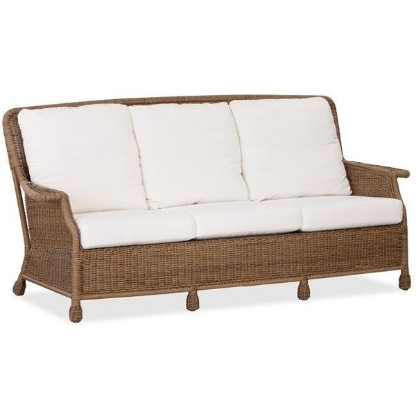 Pottery Barn Saybrook All Weather Wicker Sofa ($874) Via Polyvore Featuring  Home,