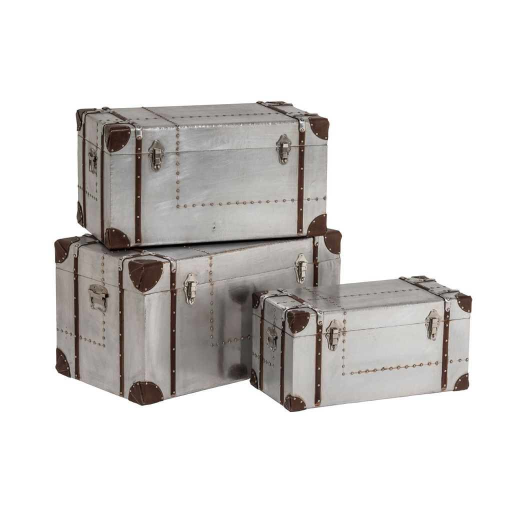 New Aviator Storage Trunks, Chipboard / Aluminium Sheet / PVC, Set Of 3