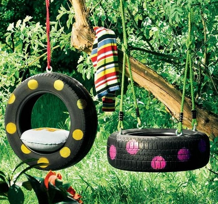 Alte Reifen werden zu neuen Schaukeln - Idee zum Selbermachen - alte autoreifen deko