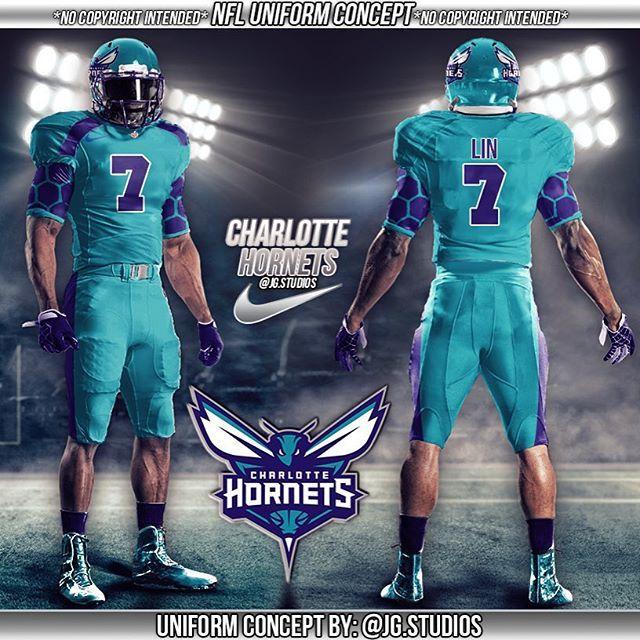#mulpix Charlotte Hornets football uniform concept! #nfl #football  #footballuniforms #charlottehornets