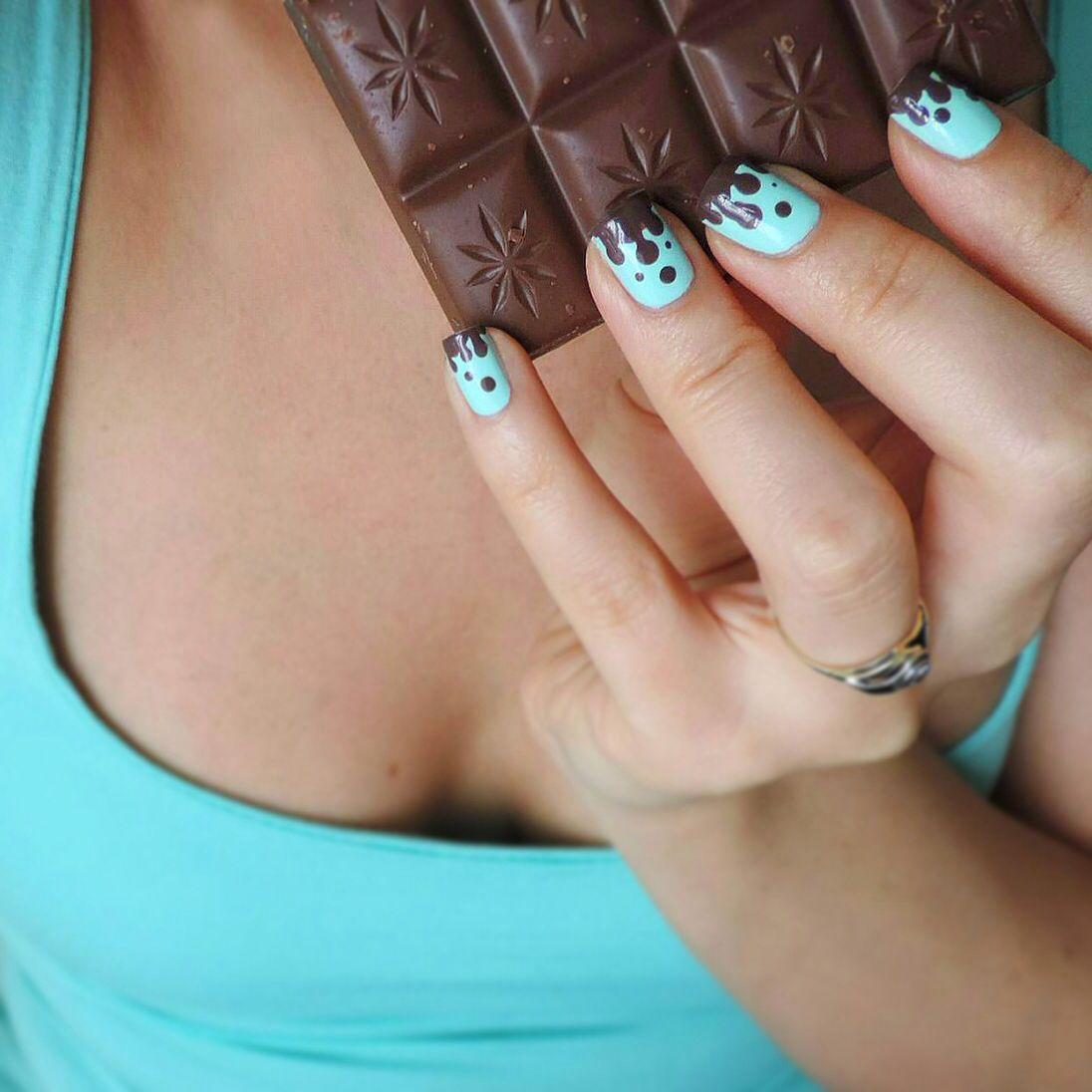 Melting Mint Chocolate Nail Art Nails Pinterest Mint Chocolate