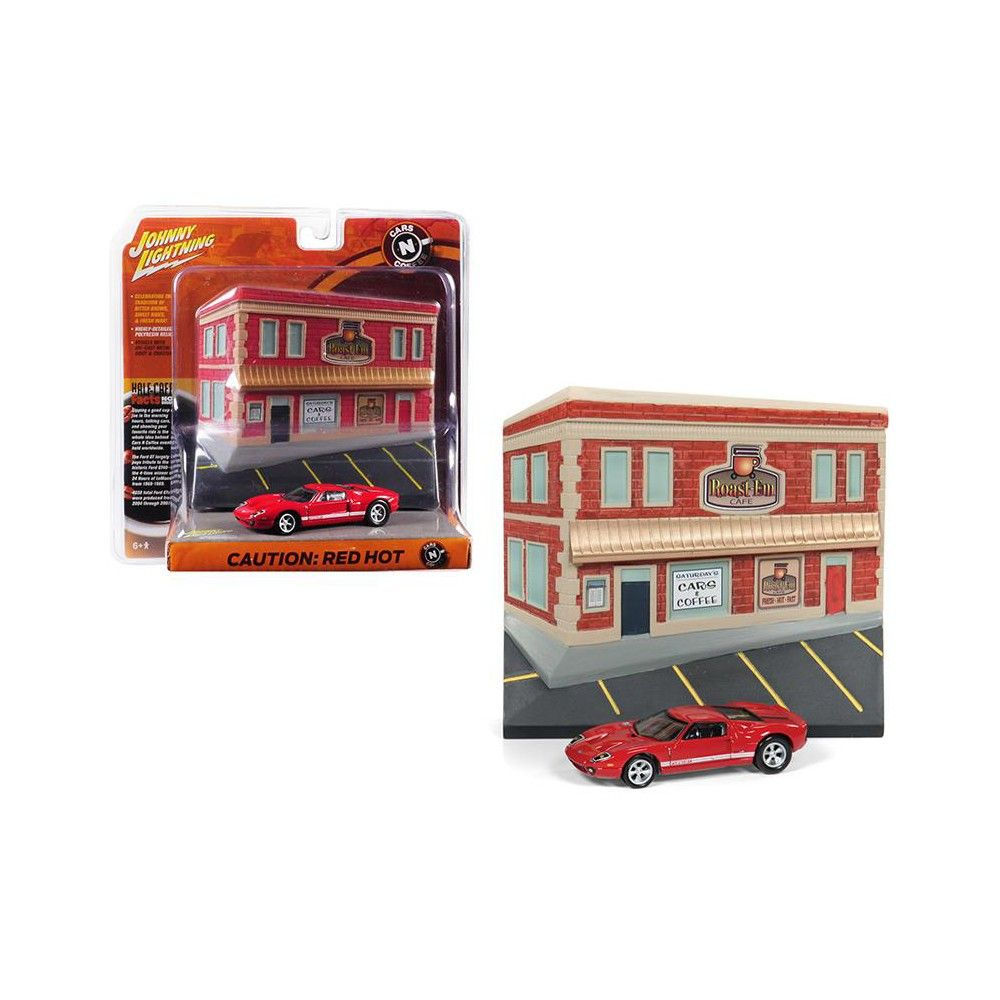 2005 Ford Gt Red With Resin Cafe Front Facade Cars And Coffee Diorama 1 64 Diecast Model Car By Johnny Lightning Ford Gt Diecast Model Cars Cars Coffee