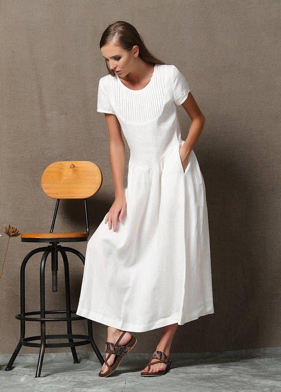 Plus size dress, Linen Dress, maxi linen, white dress woman, woman ...