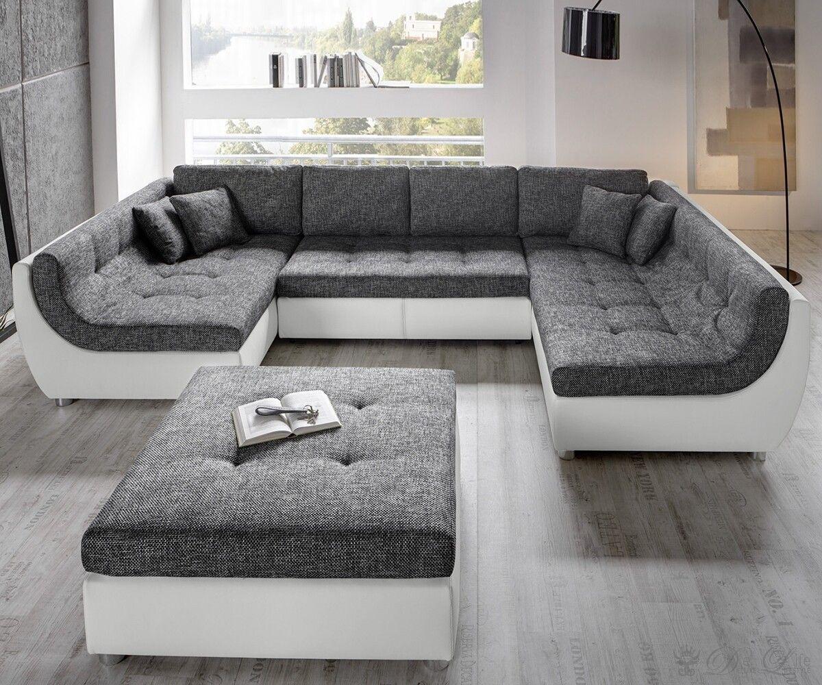 Couch u form modern  Vuelo Grau Weiss Sofa mit Schlaffunktion Wohnlandschaft mit Hocker ...