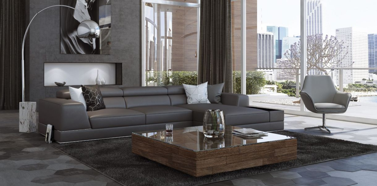 Prime Bergamo Sectional Sofa Elephant Gray In 2019 Leather Uwap Interior Chair Design Uwaporg