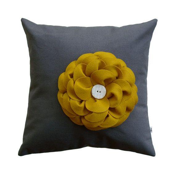Best 16 Designer Pillow Cover Charcoal Gray Linen Mustard 640 x 480