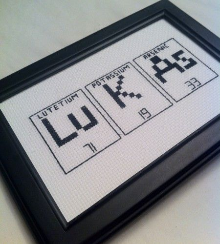 periodic table of elements cross stitch name plate by lizzystitches shannon cotton and keli michael the name has nothing to do with this pin