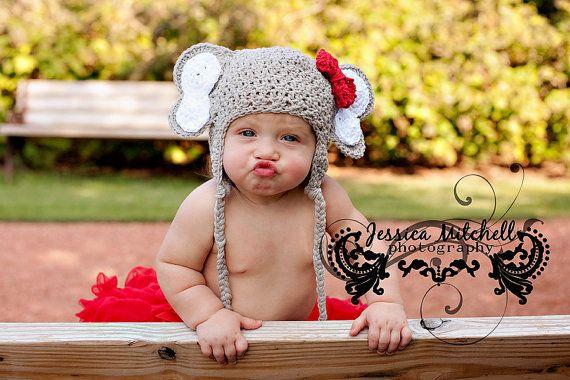 Baby Elephant Crochet Hat | AllFreeCrochet.com | 380x570