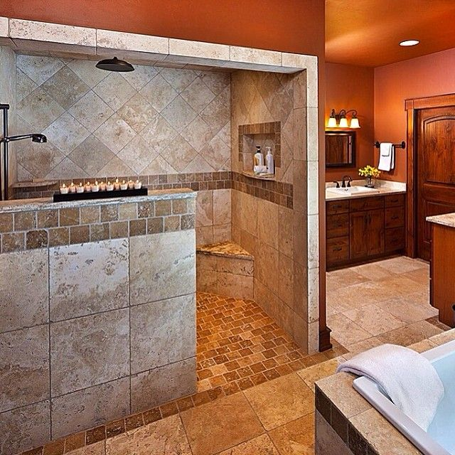 Walk in shower no glass to clean different color tile for Master bathroom no bathtub