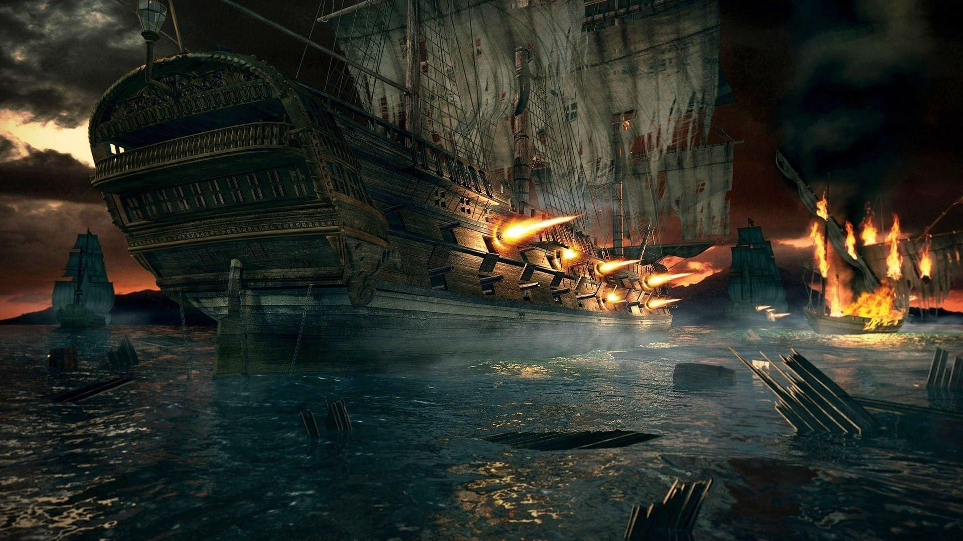 Pirate Ship Battle Wallpapers 1080p On Wallpaper 1080p Hd In 2020 Ghost Ship Art World Of Warcraft Gold Scenery Wallpaper