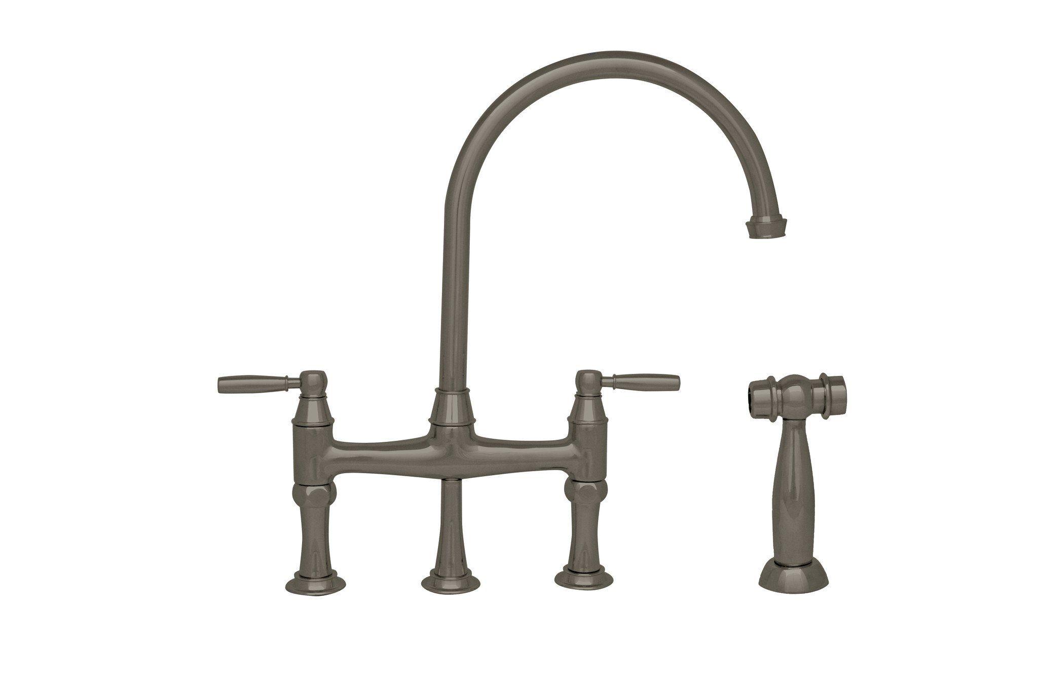 Queenhaus bridge faucet with a long gooseneck spout solid lever