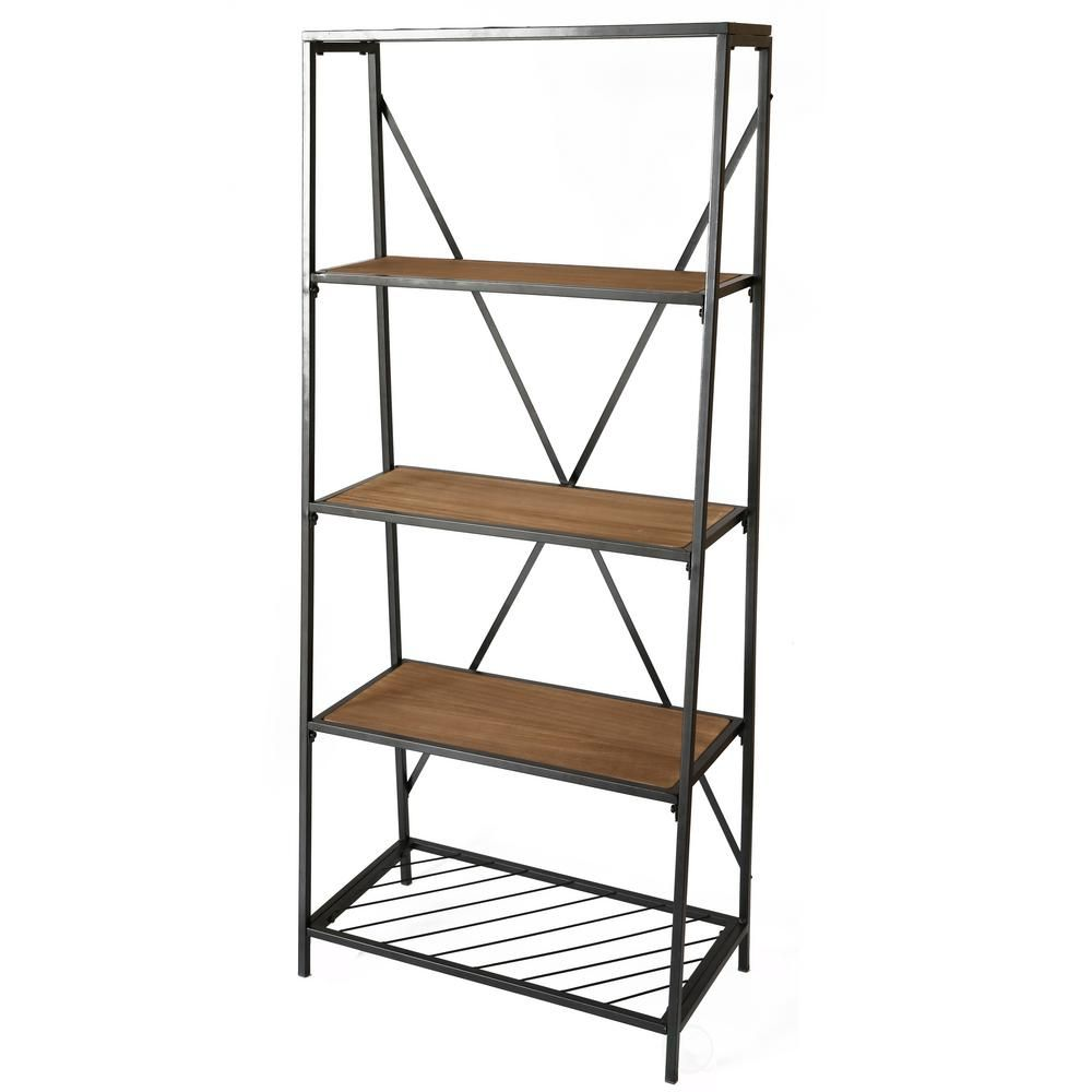 Uniquewise 4 Shelf Wooden Bookcase Wood And Metal Bookshelf Brown Wooden Bookcase Wood Metal Shelves