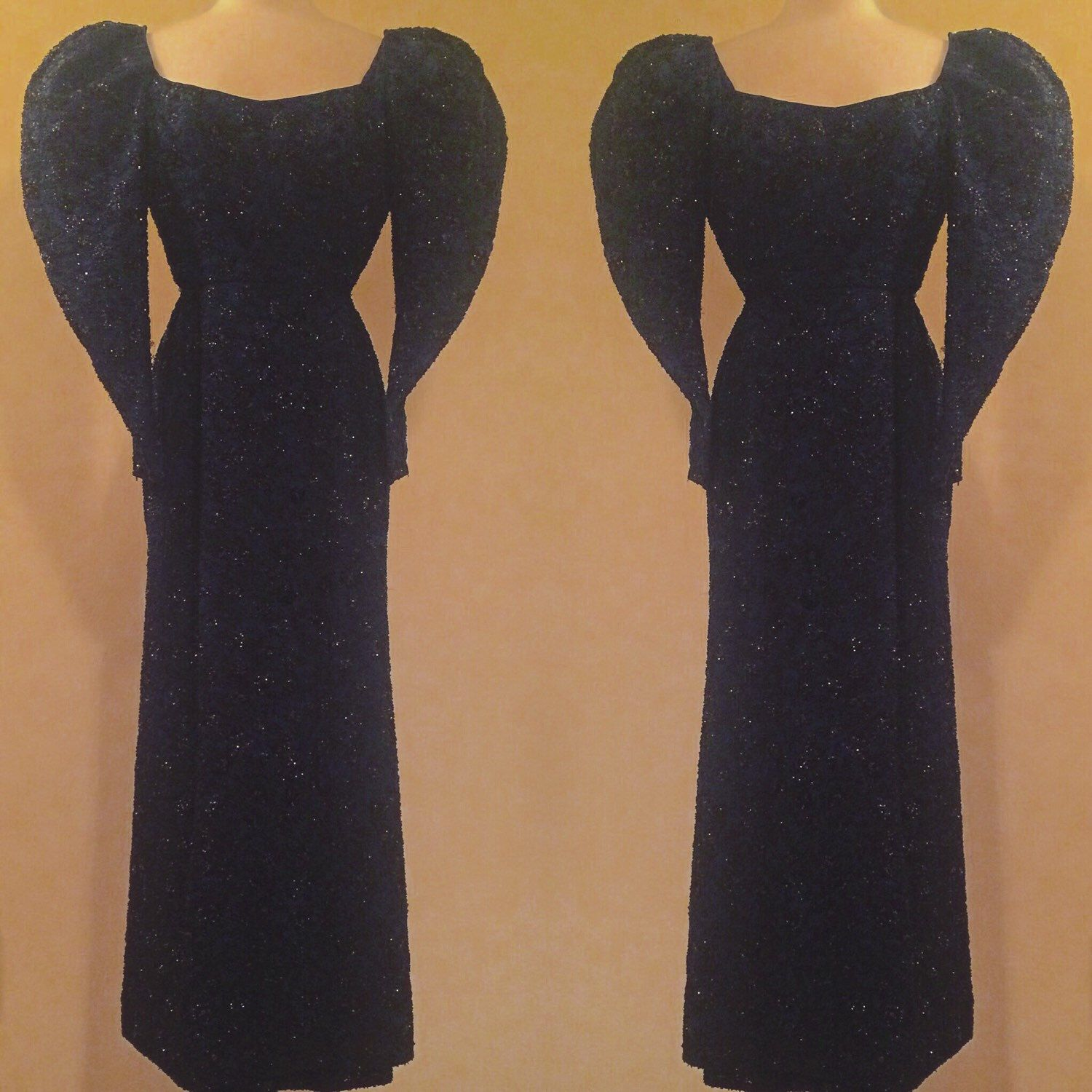 RESERVED! Do NOT buy!!!Couture Late 1930s Early 1940s Beaded Sequined Evening Gown/ Dress Midnight Blue and Black, Puff Sleeves, Zipper Wris by SelkieVintage on Etsy https://www.etsy.com/listing/262010031/reserved-do-not-buycouture-late-1930s