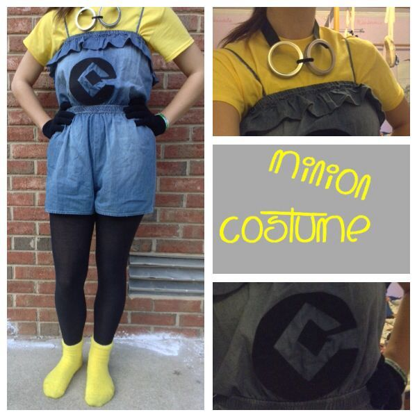 Homemade Minion costume! Jean romper, black tights and gloves, yellow fuzzy socks, googles made from mason jar tops, logo cut out and stuck on #homemade #costumes #halloween #minion #random #glovesmadefromsocks Homemade Minion costume! Jean romper, black tights and gloves, yellow fuzzy socks, googles made from mason jar tops, logo cut out and stuck on #homemade #costumes #halloween #minion #random #glovesmadefromsocks