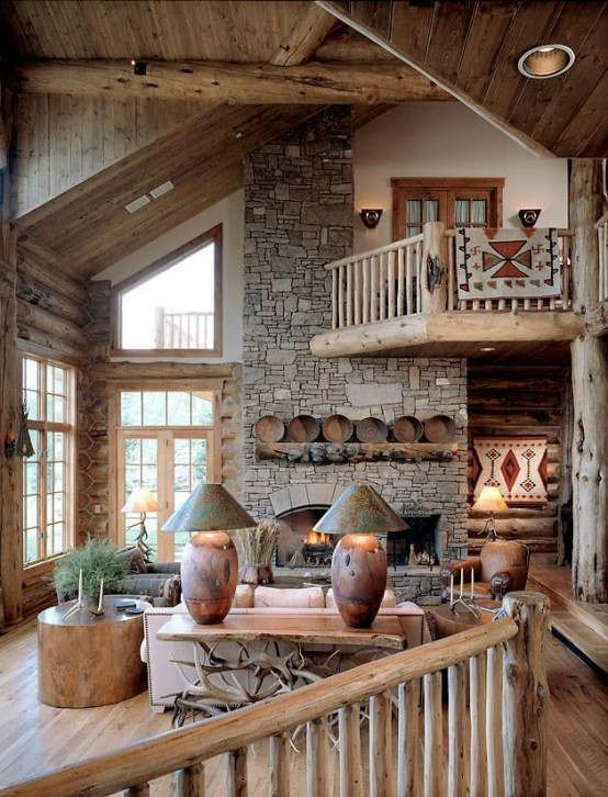 Ideas soften rustic wood country home decorating colors decor  wish love the beams and banisters sr also awesome living room hogar casas rh ar pinterest