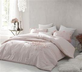 Petals Handsewn Twin Xl Comforter Soft Ice Pink Pink Bedding