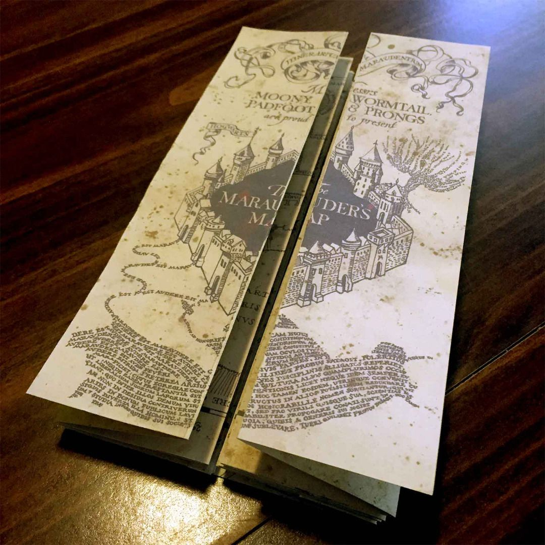 It is a graphic of Harry Potter Marauders Map Printable inside front cover