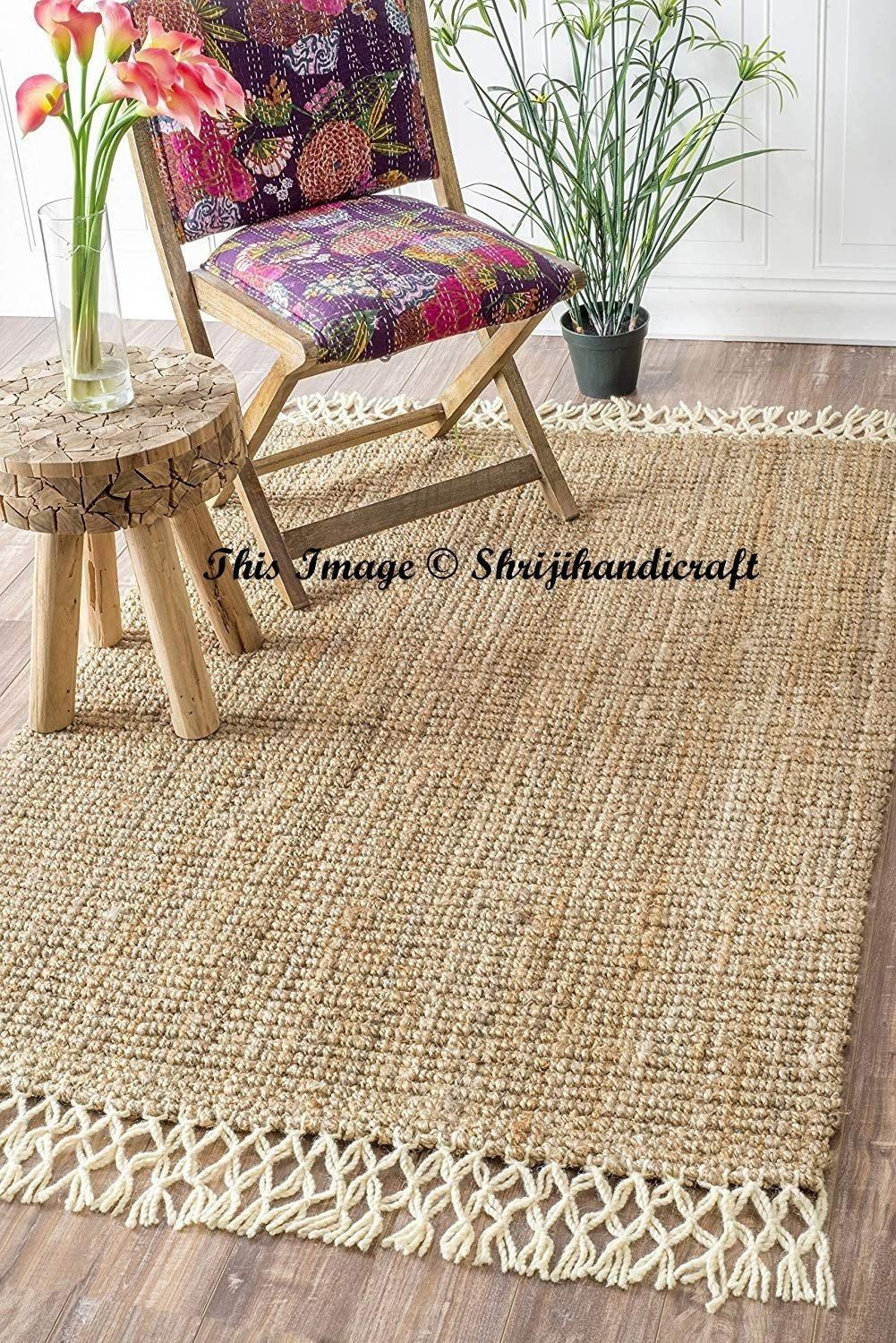 Jute Rag Rug Round Floor Rug Handmade Jute Rug Natural Jute Round Rug Indian Handmade Handwoven Ribbed Solid Area Rugs Beautiful Floor Rug Natural Rug Fringe Rugs Natural Jute Rug