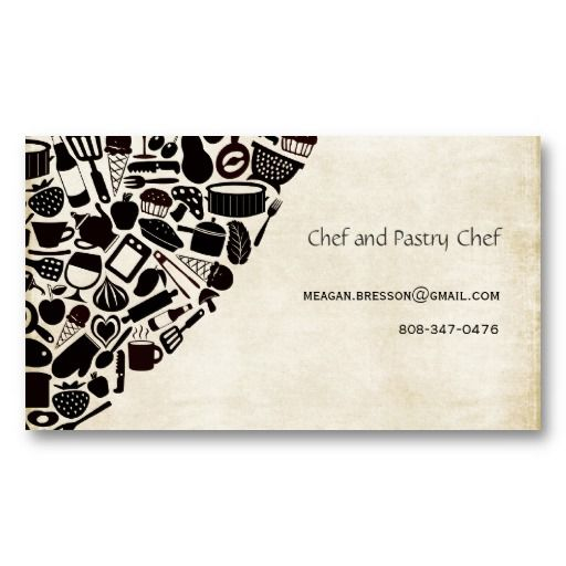 Chef Foodies Restaurant Custom Business Card. FRONT SIDE ...