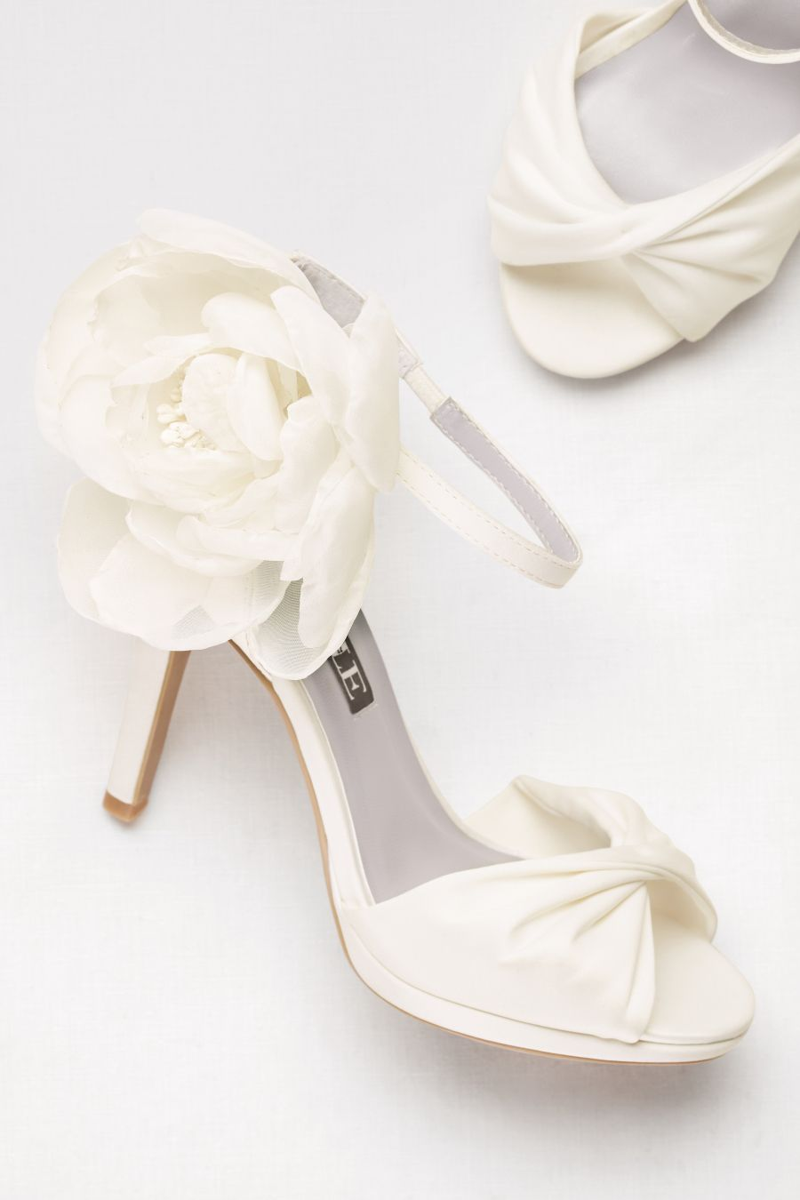 White By Vera Twisted Satin P Toes With Chiffon Flowers Wedding Shoes
